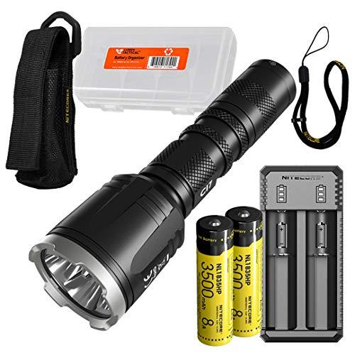 NITECORE CI7 2500 Lumen Tactical Flashlight with 7000mw 940nm Long Range Infrared IR Illuminator and 2x NITECORE NL1835HP Battery, NITECORE UI2 Battery Charger, LumenTac Battery Organizer