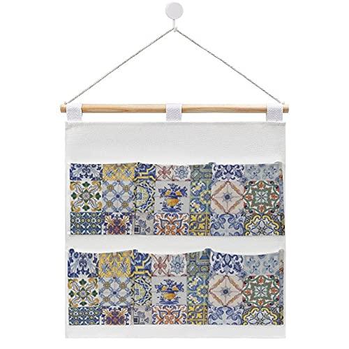 Azulejos - Bolsa de almacenamiento para colgar en la pared, con 6 bolsillos para la familia, baño, dormitorio, cocina