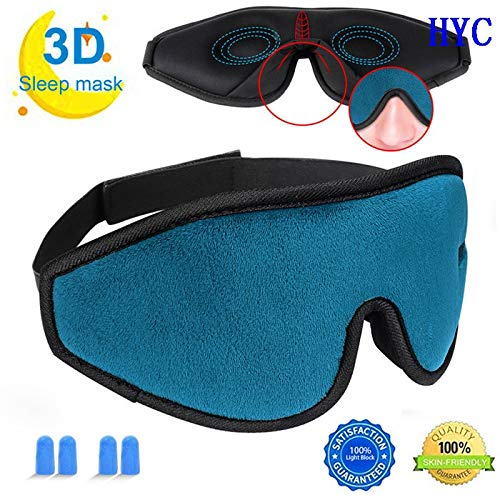Schlafmaske for Damen und Herren, Upgraded 3D konturierte Augenmaske for Schlafen, Ultra Soft Breathable Schlafaugenmaske, 100% Blackout Eye Shades Blindfold for völlige Dunkelheit ( Farbe : Blau )