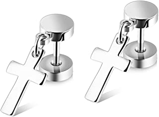 Devildom Men Women Cross Dumbbell Stainless Steel Stud Earrings Jewelry For Boy Girl 3 Color