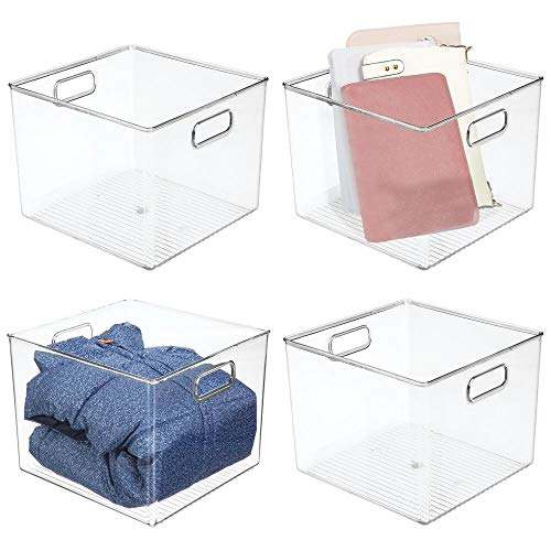 """mDesign Plastic Storage Bin Box - Closet Organizer for Kids Bedroom, Bathroom, Kitchen Pantry, Home Office, Entryway, Hallway - Perfect for Shelves, Cabinets, Under Sink, 7.5"""" High, 4 Pack - Clear"""