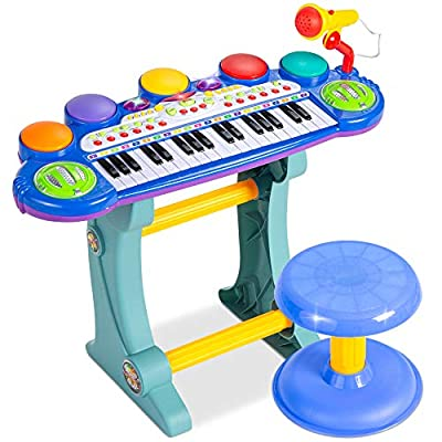 Best Choice Products 37-Key Kids Electronic Musical Instrument Piano Learning Toy Keyboard w/ Multiple Sounds, Lights, Microphone, Stool - Blue by Best Choice Products