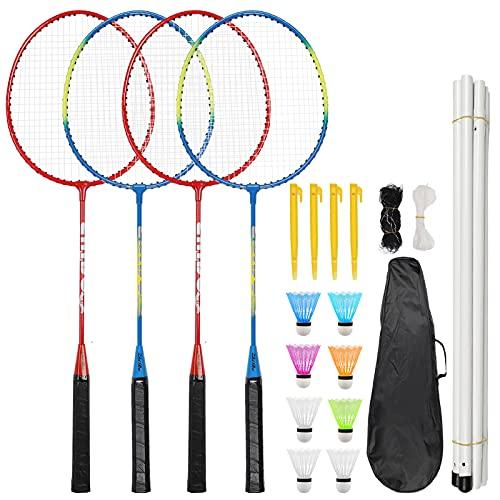Herefun Badminton Set, 4 Spieler Badmintonschläger Set mit Netz und 8 Federball, Komplettset Profi Federballschläger Badmintonschlägern Set für Training Outdoor Spiele Unterhaltung mit Schlägertasche
