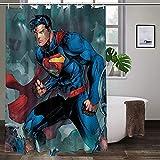Superman-Duschvorhang aus Polyester, hohe Temperaturwiderstandsfähigkeit, langlebig, ungiftig, geruchlos.