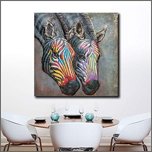 YuanMinglu Stilvolle Moderne Ölgemälde Wandkunst Pop-Art Farbmalerei Zebra Leinwand Wandplakat Wohnzimmer Bild rahmenlose Malerei50x50cm