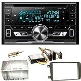 Kenwood DPX-5100BT Bluetooth USB MP3 Autoradio CD AOA2.0 Doppel Din Einbauset für Mercedes C-Klasse W203 CLK W208 W209