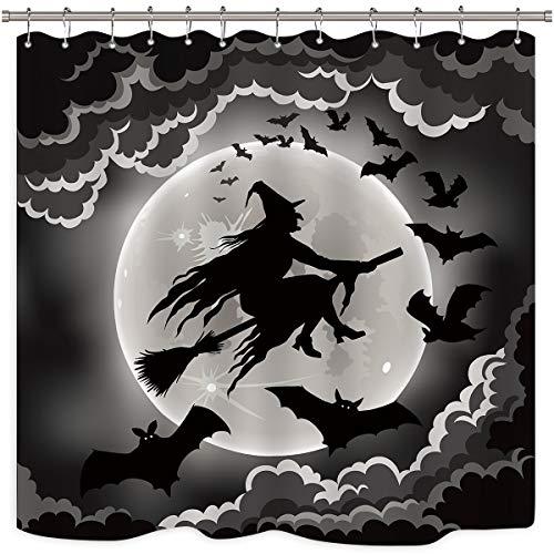 Riyidecor Halloween Witch Shower Curtain Black Night Flying Scary Ghost Happy Halloween Kids Moon Decor Fabric Set…