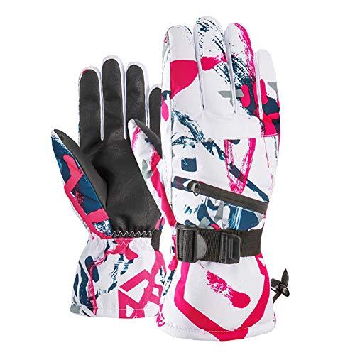Augu Ski-Handschuhe Wasserdicht Thermische Handschuhe Outdoor-Winter-Handschuhe PU-Anti-Rutsch-Fünf-Finger-Touch-Screen-Radsport Motorrad Camping Wandern Bergsteigen,B,XL