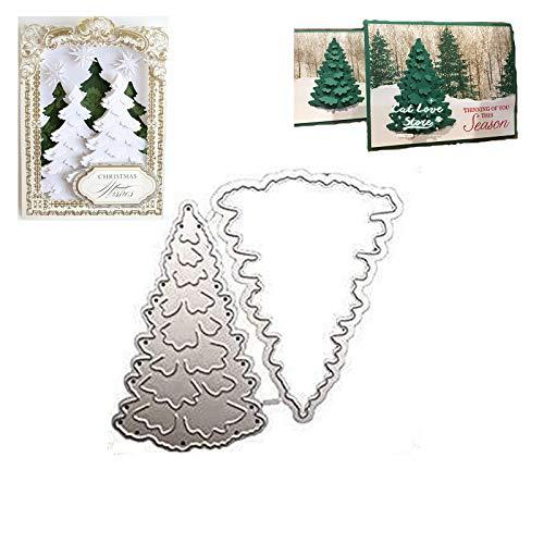 Fustelle per alberi in metallo Fustelle Metalliche di Natale Stencil in metallo fustellato albero Fustelle a forma di albero per Fai da Te Biglietti d'Auguri Scrapbooking Album(2,36x3,14 pollici)