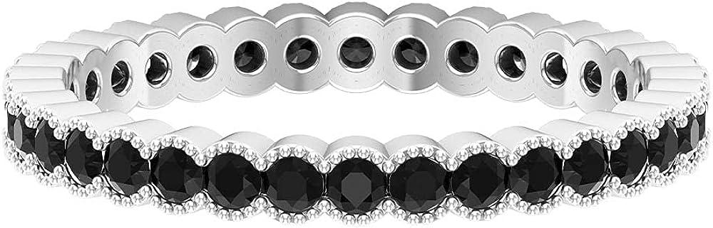 1 CT Round Shape Black Diamond Milgrain Eternity Band Ring (HI-SI Quality),14K White Gold,Black Diamond,Size:US 10.50