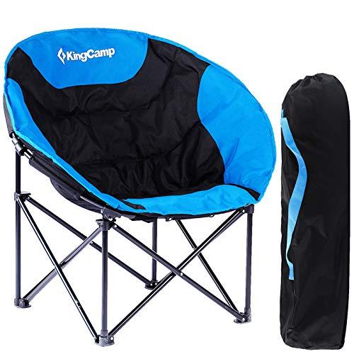 KingCamp Moon Chair de Easy Up hasta 120kg Camping Silla de Camping Silla Plegable Silla de Pesca para Camping Pesca Senderismo Picnic con Bolsa, 84× 70× 40/80cm, Azul