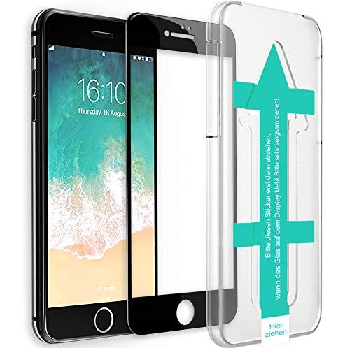 XeloTech 3D/4D Schutzglas für iPhone 8/7 mit Schablone für perfekte Positionierung - Schützt komplettes Display - Full Cover Vollglas (Schwarz)