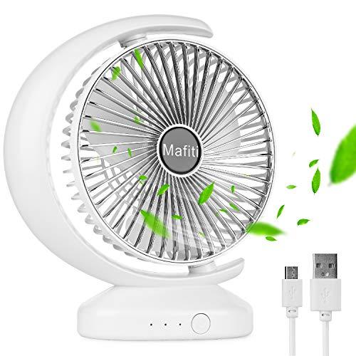 mafiti Ventilador de Escritorio USB Recargable Portátil Personal Oscilante, Ventilador Pequeño de Mesa Ideal para Oficina, Viajes, Hogar, Dormitorio Color Blanco