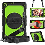 STLDM Galaxy Tab A 10.1 Case 2019,Full Body Heavy Duty Cover Case with Built-in Screen Protector,Rotating Stand,Hand Strap and Shoulder Strap for Samsung Galaxy Tab A 10.1 SM-T510/T515 Lemon Yellow