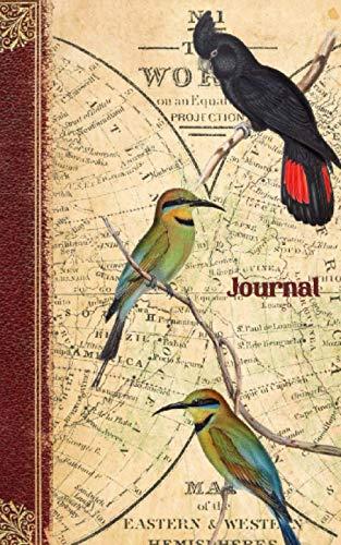 [画像:Journal: College Rule Notebook Vintage Writing Diary, Birds on a World Map]