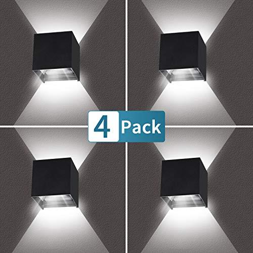 4 Pezzi LED Applique da Parete 12W Bianco freddo 6000K, Lampada da Parete Moderna Nera per interni ed esterni IP65 Impermeabile