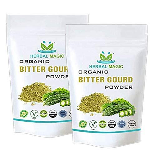 Herbal Magic's Organic Bitter Gourd Powder (Karela) - Immunity | Digestion | Sugar Support Rich in Vitamin A | Vitamin C | Calcium | Whole Plant Used