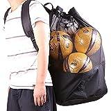 Ysislybin Red para 10 – 15 pelotas, gran bolsa para balones de fútbol, baloncesto, voleibol, con cordón y correa para el hombro, multiusos, de malla