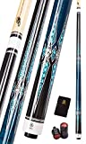 Collapsar CXT030 Pool Cue with Soft Case,Black with Cream Points and Turquoise,Wrapless Blue Curly Maple Handle, 58Inch Professional Pool Stick (Blue Handle, 20 Ounce)