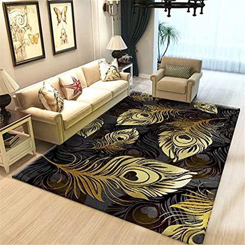 LBMTFFFFFF Alfombra alfombra para el hogar, salón, sofá, alfombra retro, dormitorio, cama de noche, diseño floral, atmósfera sencilla, suave y cómoda, 120 x 160 cm