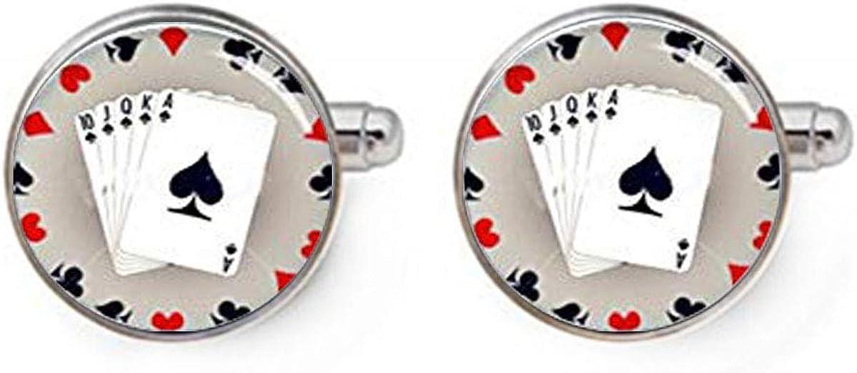 Playing Card Cufflinks, Personalized Cufflinks, Poker Card Cuff Links, Custom Wedding Cufflinks, Dome Glass Jewelry