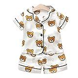 Goldyqin Pijamas de Verano para niños Oso de satén Servicio de Dibujos Animados para el hogar Traje de Manga Corta Pijamas de Dos Piezas para niños