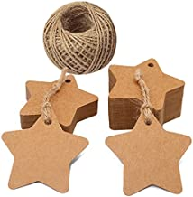 Star Gift Tags,100 PCS Kraft Paper Tags,6CM Brown Tags with