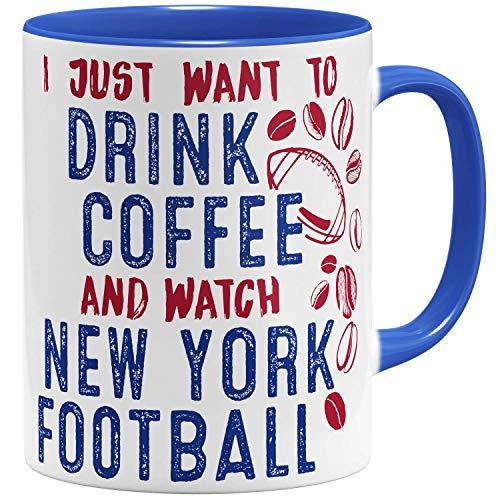 OM3® - New-York-Coffee - Tasse | Keramik Becher | American Football Mug | 11oz 325ml | Beidseitig Bedruckt | Royalblau