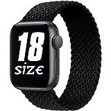 Fengyiyuda Correa Solo Loop Trenzada Compatible con Correa Apple Watch 38/40/42/44mm,Soft Sport Reemplazo Elástica de Correa Nylon Compatible con iWatch Serie 6/5/4/3/2/1/SE,Black,42-10