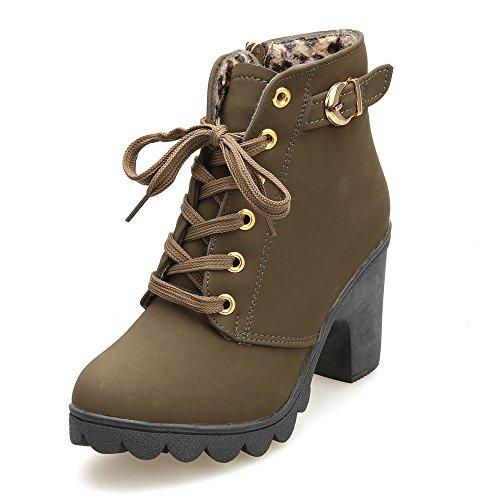 Stiefel Damen, LANSKIRT Stiefel Schuhe Ankle Boots Frauen High Heels Plateau Knöchel Stiefel Schnürstiefel Schuhe Stilettos Boots Schnallen Blockabsatz Faux Leder-Optik Schuhe