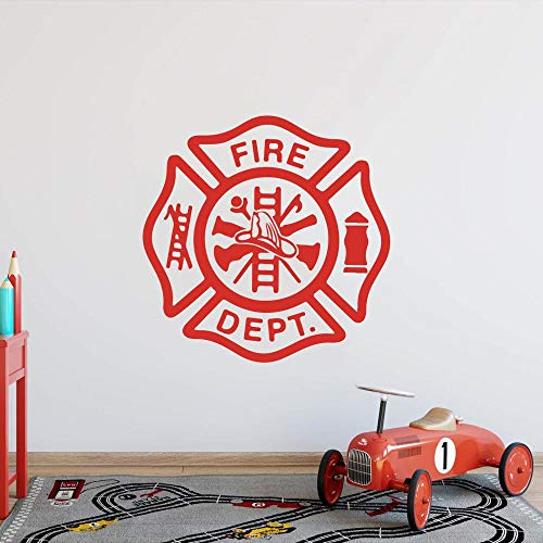 Axlgw brandweer afdeling interieur muur Sticker brand Dept brandweerman brandweerman man grot muur Decal jongen kamer slaapkamer Vinyl huisdecoratie grootte 45Cmwidex45Cmhigh