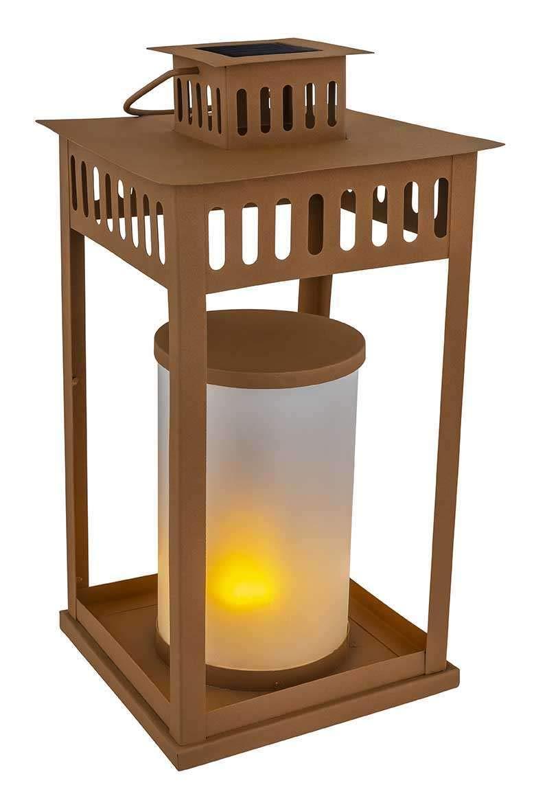 Farol solar para jardín, para exterior, decoración de jardín, aspecto oxidado, lámpara solar (farol de jardín, lámpara decorativa, vela LED, altura 50 cm, óxido): Amazon.es: Iluminación
