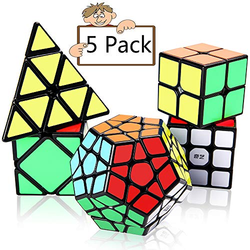 Speed Cube Set Vdealen Puzzle Cube Bundle 2x2x2 3x3x3 Pyramid Megaminx Skew Speed Cube Smooth Sticker Cubes Interesting IQ Games for All Age Kids [5 Pack]