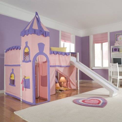 Schoolhouse Twin Princess Loft Bed w/ Slide, Perfect for...