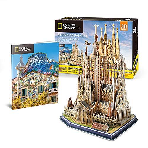 JW-MZPT Barcelona Sagrada Familia 3D Rompecabezas, Juguete Hecho a Mano Asamblea Edificio Modelo de Papel, descompresión Juguetes educativos Regalos creativos de la Personalidad de Bricolaje