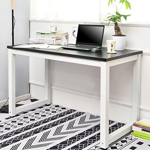 BTM Moderner Computertisch Schreibtische Bürotisch Arbeitstisch PC-Tisch, Schreibtisch für kleinen Raum (Schwarz)