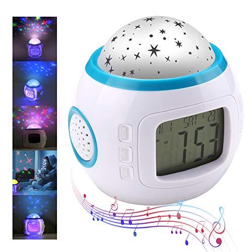 Aiming Los niños del Cielo de Noche de la Estrella de luz del proyector de la lámpara de Alarma del Reloj de la música para Dormir