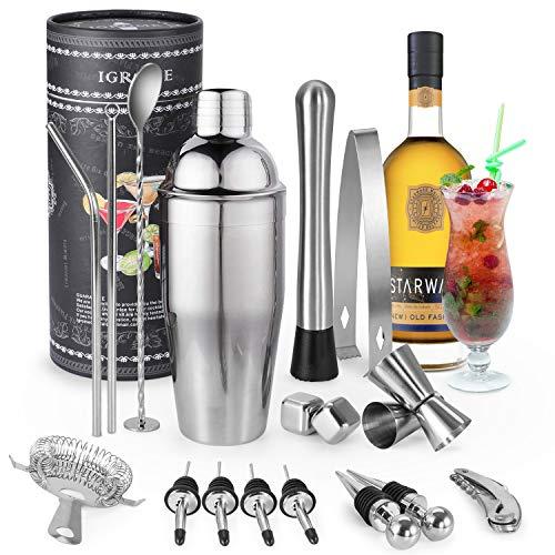 Igrome Copa Copas de cóctel de Acero Inoxidable para Vino, Boston, Bebidas, Bares, Regalos, Metal, 15 Teiliges Set, 1