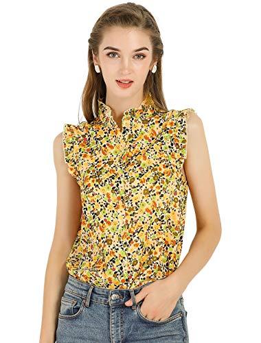 Allegra K Blusa Top Floral Botón Abajo Escote Volante Sin Mangas para Mujeres Amarillo M