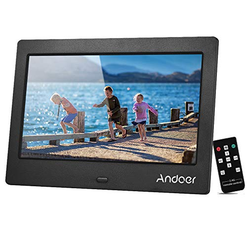 Andoer 7 Inch Digital Photo Frame with IPS HD Screen 1024x600 Digital Picture Frame with 2.4G Wireless Remote Control Music Video Clock Calender Functions for Family Friends (Black) Materials Presentation Storage