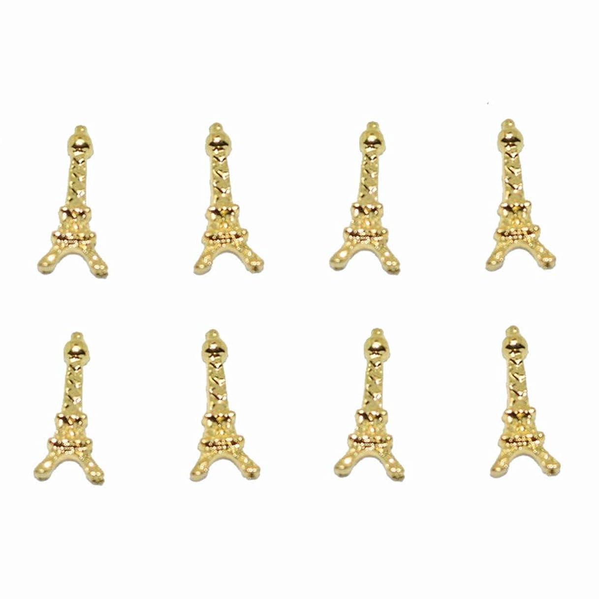 詳細に火曜日適合しました100ピース新しいゴールドエッフェル塔3Dネイルアート装飾合金ネイルチャーム、ネイルラインストーンネイル用品