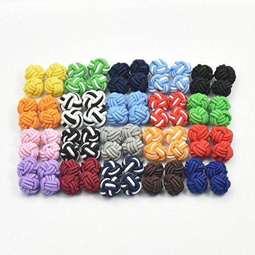 20,50,100Paar Manschettenknöpfe in Knotenform aus Seide, blanko und gemischte Farben