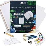 Artina Set di Tele e Colori Acrilici Santorini - 30 articoli - Set per pitturare con 12x12ml colori acrilici, 5x tele, pennelli, spatole e set per disegno