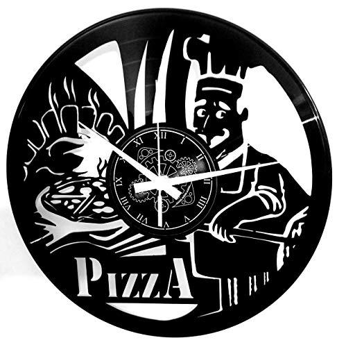 Instant Karma Clocks Orologio da Parete in Vinile a Tema Pizza Ristorante Pizzeria Forno Margherita Cucina Napoli, Arredamento, Pizzaiolo