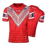 Maillot de Rugby pour Hommes, 2018 Tonga Domicile Rugby Polo Shirt T-Shirt d'entraînement, Haut de Sport de Football de supporteur, Cadeau d'anniversaire-XL