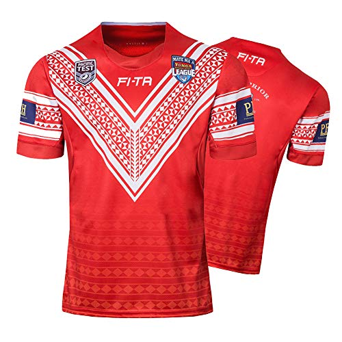 Herren Rugby Trikot, 2018 Tonga nach Hause Rugby Polo Shirt Training T-Shirt, Unterstützer Fußball Sport Top, Bestes Geburtstagsgeschenk-L