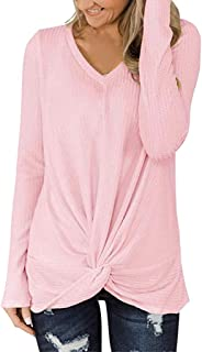 Ladies Blouse Women Solid Color Shirts Casual V-Neck Long Sleeve Knot Waffle Knitted Tunic Cute Tops