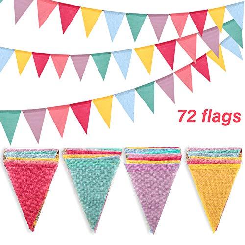 Shappy 18 Flaggen Nachgeahmt Sackleinen Wimpel Banner Mehrfarbig Stoff Dreieck Flagge Bunting f/ür Party H/ängende Dekoration