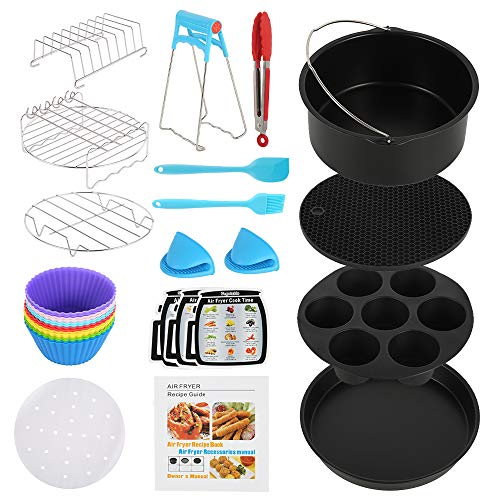 An image of the Air Fryer Accessories, 130 Piece General Set with Recipe Cookbook, Non-Stick Coating Compatible for Over 3.2 Litre Air Fryers, Tower Airfryer, Deluxe Deep Fryer Accessories (8 inch)