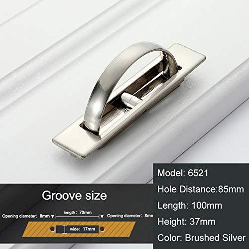 DAMO&GUYAN Versteckte Türgriffe, Zinklegierung Einbau Flush Pull Cover Bodenschrank Griff Bright Chrome Dark Furniture Hardware,gebürstetes Silber